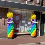 Ballonpilaar regenboog smiley